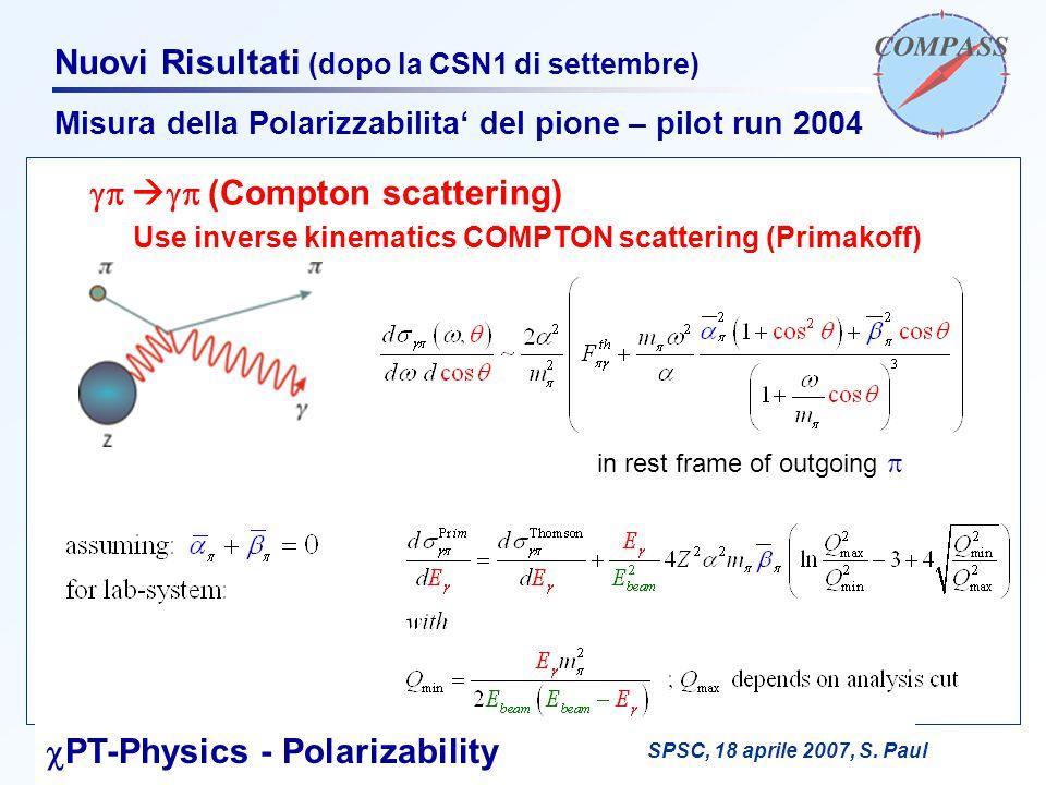 F. BradamanteCSN1, 15 maggio 2007 Nuovi Risultati (dopo la CSN1 di settembre) Misura della Polarizzabilita' del pione – pilot run 2004    (Comp