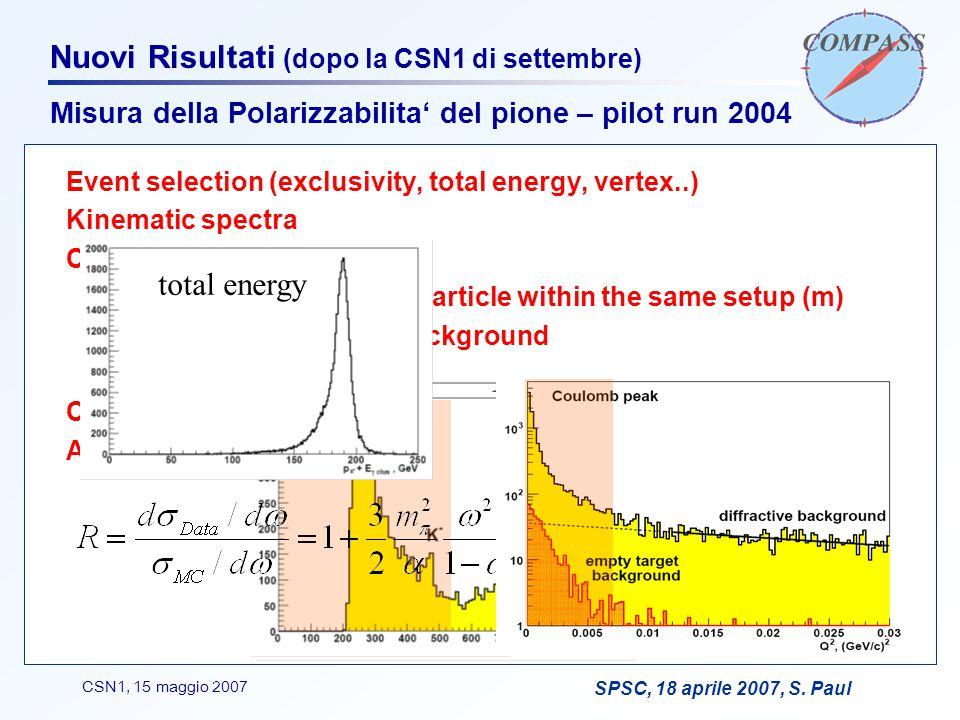 F. BradamanteCSN1, 15 maggio 2007 Nuovi Risultati (dopo la CSN1 di settembre) Misura della Polarizzabilita' del pione – pilot run 2004 SPSC, 18 aprile