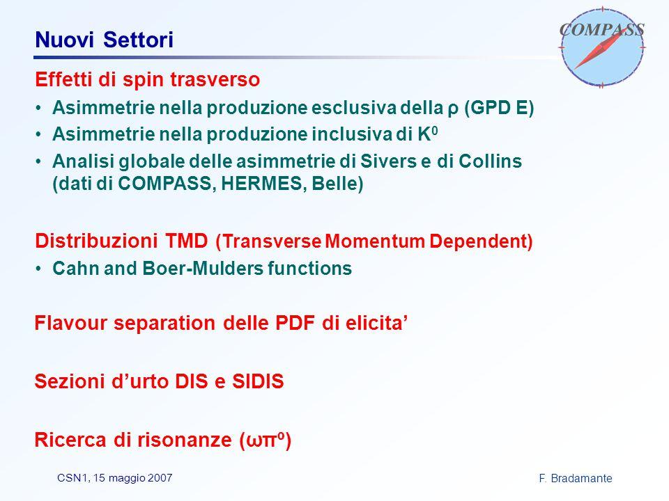 F. BradamanteCSN1, 15 maggio 2007 Nuovi Settori Effetti di spin trasverso Asimmetrie nella produzione esclusiva della ρ (GPD E) Asimmetrie nella produ