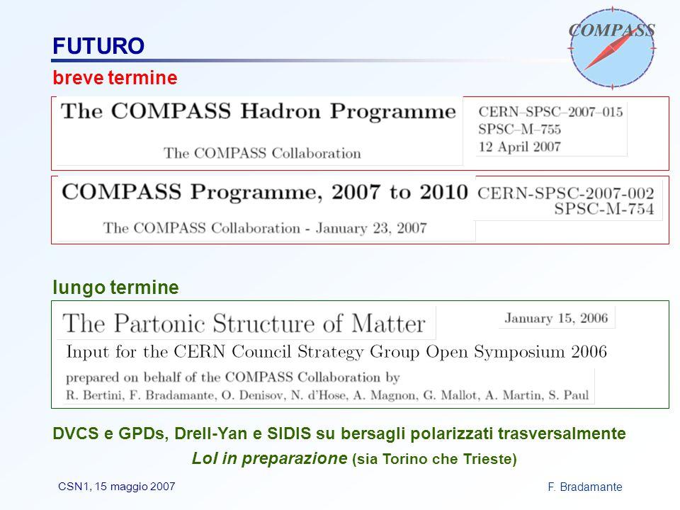 F. BradamanteCSN1, 15 maggio 2007 FUTURO breve termine lungo termine DVCS e GPDs, Drell-Yan e SIDIS su bersagli polarizzati trasversalmente LoI in pre