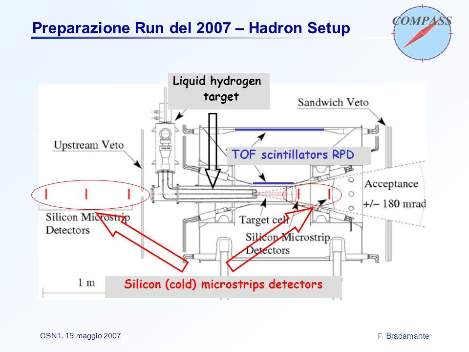 F. BradamanteCSN1, 15 maggio 2007 Preparazione Run del 2007 – Hadron Setup Silicon (cold) microstrips detectors Liquid hydrogen target TOF scintillato