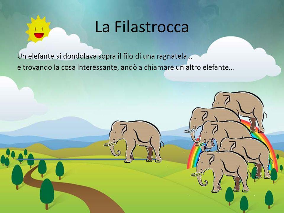 La Filastrocca Un elefante si dondolava sopra il filo di una ragnatela… e trovando la cosa interessante, andò a chiamare un altro elefante…