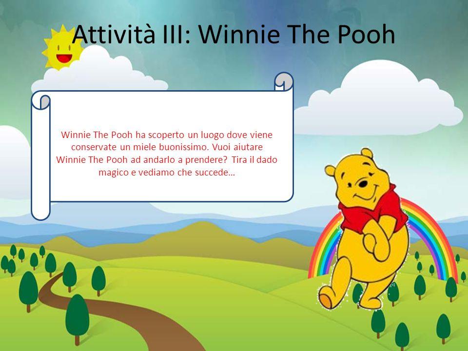 Attività III: Winnie The Pooh Winnie The Pooh ha scoperto un luogo dove viene conservate un miele buonissimo.