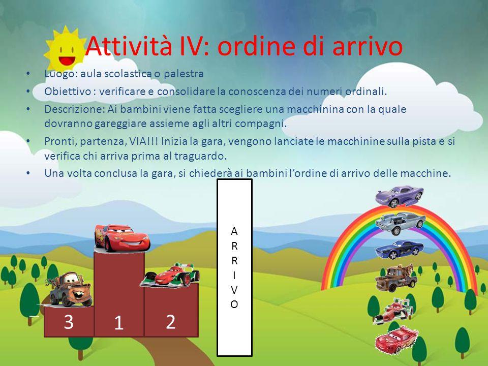 ARRIVOARRIVO Attività IV: ordine di arrivo Luogo: aula scolastica o palestra Obiettivo : verificare e consolidare la conoscenza dei numeri ordinali.