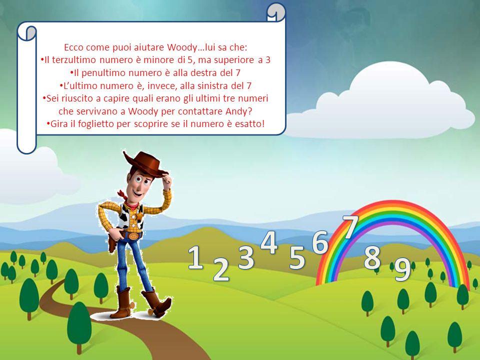 Ecco come puoi aiutare Woody…lui sa che: Il terzultimo numero è minore di 5, ma superiore a 3 Il penultimo numero è alla destra del 7 L'ultimo numero è, invece, alla sinistra del 7 Sei riuscito a capire quali erano gli ultimi tre numeri che servivano a Woody per contattare Andy.