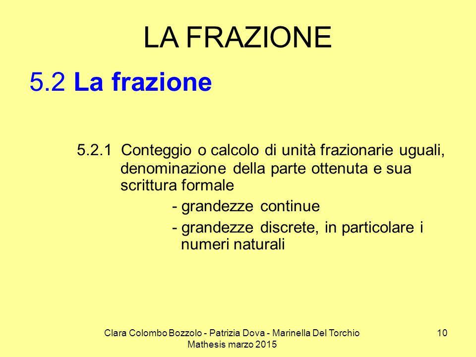 Clara Colombo Bozzolo - Patrizia Dova - Marinella Del Torchio Mathesis marzo 2015 LA FRAZIONE 5.2 La frazione 5.2.1 Conteggio o calcolo di unità frazi