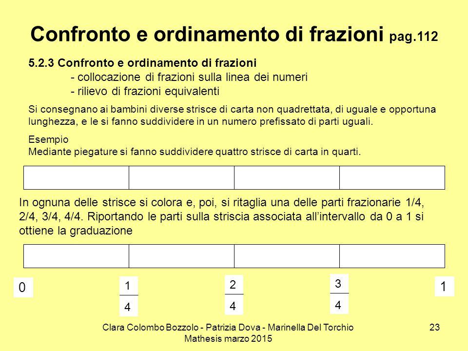 Clara Colombo Bozzolo - Patrizia Dova - Marinella Del Torchio Mathesis marzo 2015 Confronto e ordinamento di frazioni pag.112 5.2.3 Confronto e ordina