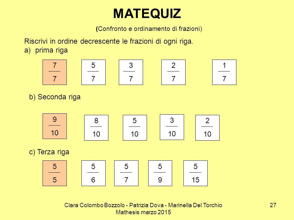 Clara Colombo Bozzolo - Patrizia Dova - Marinella Del Torchio Mathesis marzo 2015 3737 MATEQUIZ (Confronto e ordinamento di frazioni) Riscrivi in ordi