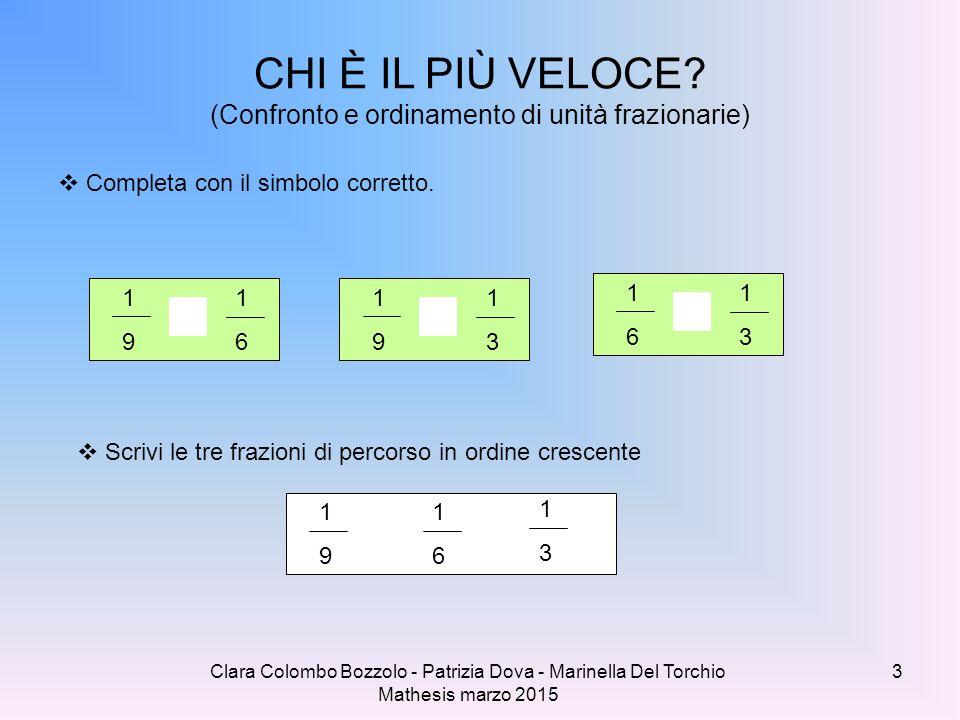 Clara Colombo Bozzolo - Patrizia Dova - Marinella Del Torchio Mathesis marzo 2015  Completa con il simbolo corretto. CHI È IL PIÙ VELOCE? (Confronto