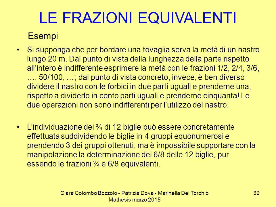 Clara Colombo Bozzolo - Patrizia Dova - Marinella Del Torchio Mathesis marzo 2015 LE FRAZIONI EQUIVALENTI Si supponga che per bordare una tovaglia ser