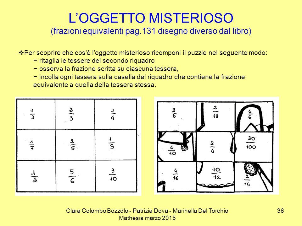 Clara Colombo Bozzolo - Patrizia Dova - Marinella Del Torchio Mathesis marzo 2015 L'OGGETTO MISTERIOSO (frazioni equivalenti pag.131 disegno diverso d