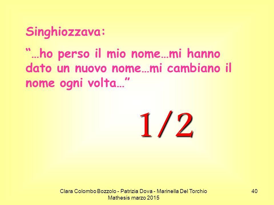 """Clara Colombo Bozzolo - Patrizia Dova - Marinella Del Torchio Mathesis marzo 2015 Singhiozzava: """"…ho perso il mio nome…mi hanno dato un nuovo nome…mi"""