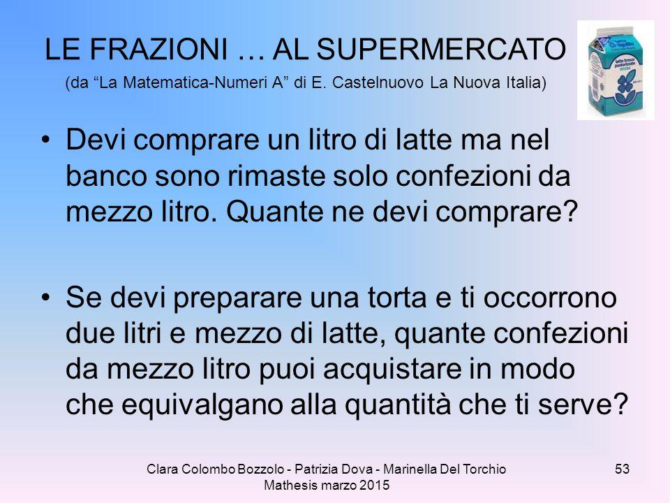 """Clara Colombo Bozzolo - Patrizia Dova - Marinella Del Torchio Mathesis marzo 2015 LE FRAZIONI … AL SUPERMERCATO (da """"La Matematica-Numeri A"""" di E. Cas"""