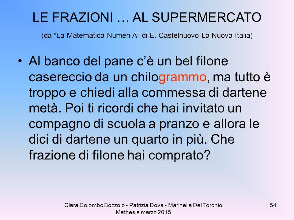 Clara Colombo Bozzolo - Patrizia Dova - Marinella Del Torchio Mathesis marzo 2015 Al banco del pane c'è un bel filone casereccio da un chilogrammo, ma