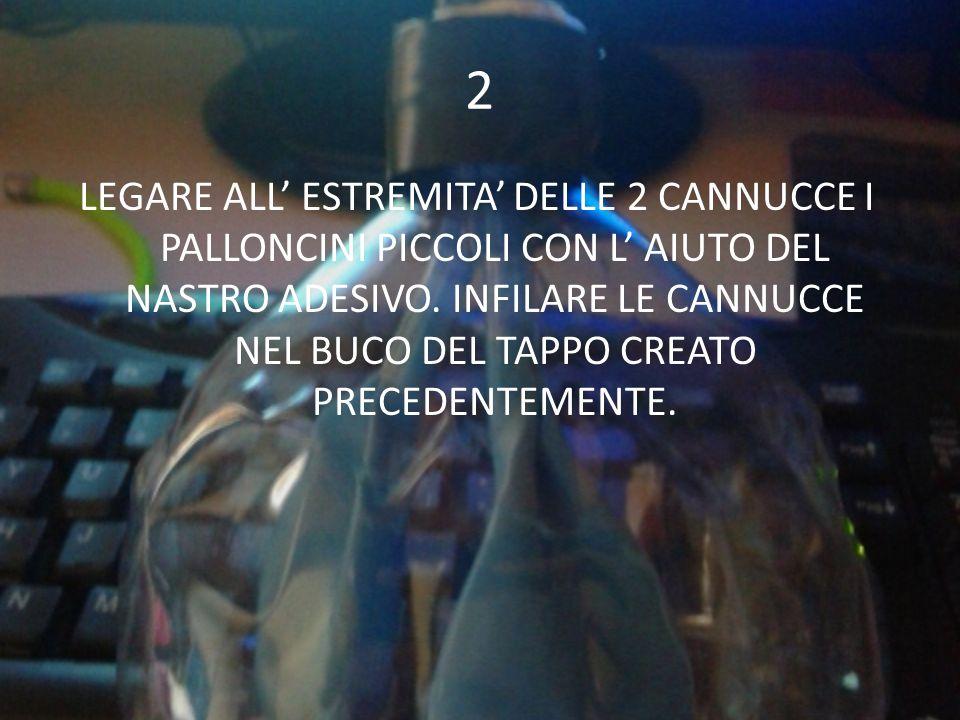 2 LEGARE ALL' ESTREMITA' DELLE 2 CANNUCCE I PALLONCINI PICCOLI CON L' AIUTO DEL NASTRO ADESIVO.