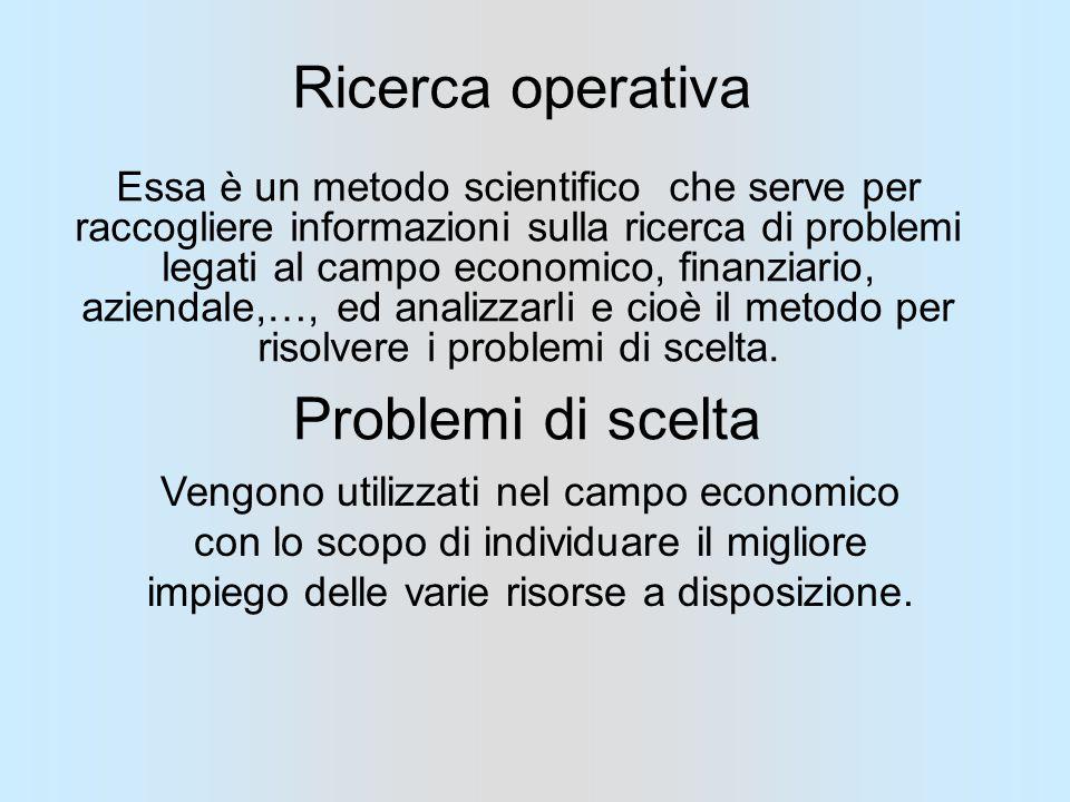 Ricerca operativa Essa è un metodo scientifico che serve per raccogliere informazioni sulla ricerca di problemi legati al campo economico, finanziario