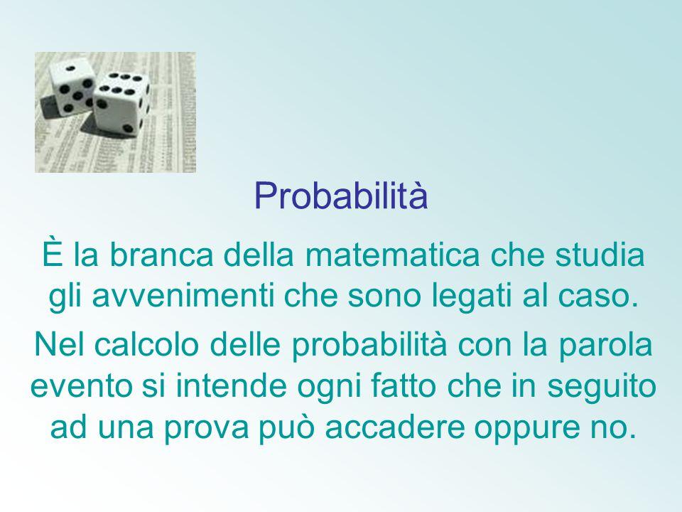 Probabilità È la branca della matematica che studia gli avvenimenti che sono legati al caso. Nel calcolo delle probabilità con la parola evento si int