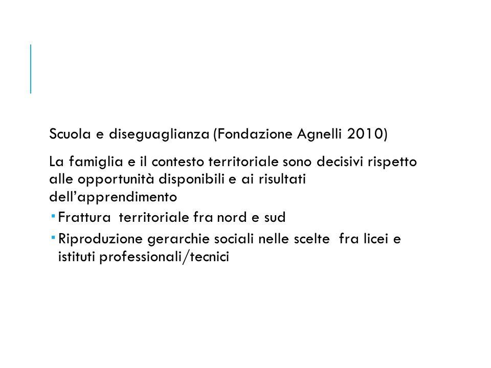 Scuola e diseguaglianza (Fondazione Agnelli 2010) La famiglia e il contesto territoriale sono decisivi rispetto alle opportunità disponibili e ai risu