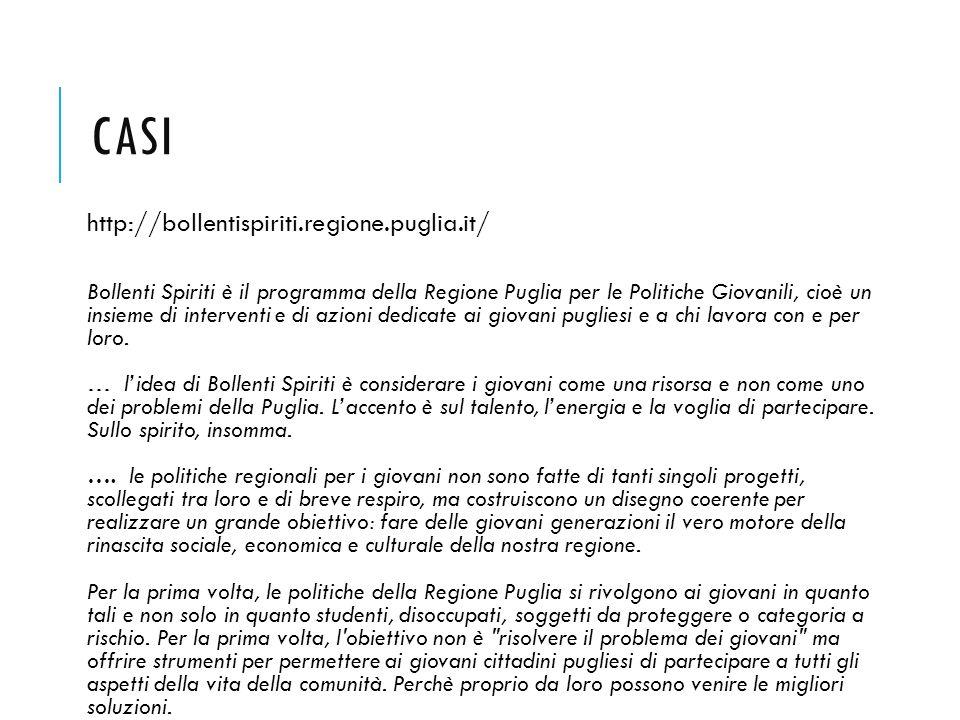 CASI http://bollentispiriti.regione.puglia.it/ Bollenti Spiriti è il programma della Regione Puglia per le Politiche Giovanili, cioè un insieme di int