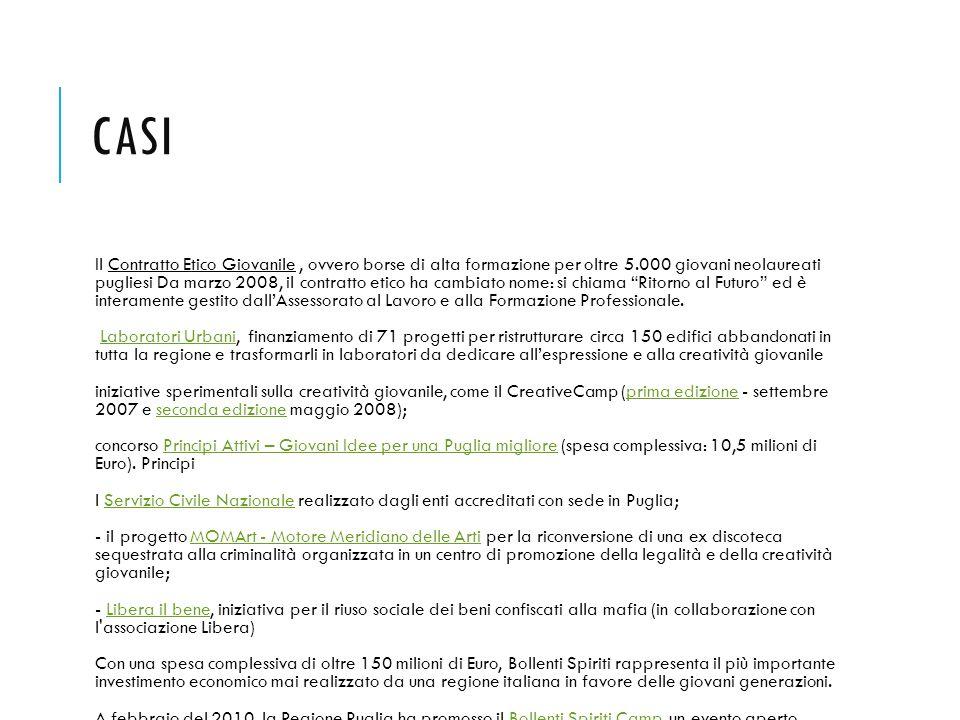 CASI Il Contratto Etico Giovanile, ovvero borse di alta formazione per oltre 5.000 giovani neolaureati pugliesi Da marzo 2008, il contratto etico ha c
