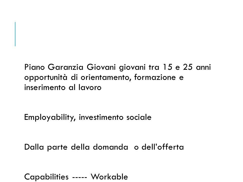 Piano Garanzia Giovani giovani tra 15 e 25 anni opportunità di orientamento, formazione e inserimento al lavoro Employability, investimento sociale Da