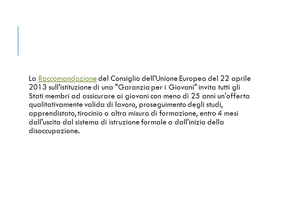 La Raccomandazione del Consiglio dell'Unione Europea del 22 aprile 2013 sull'istituzione di una