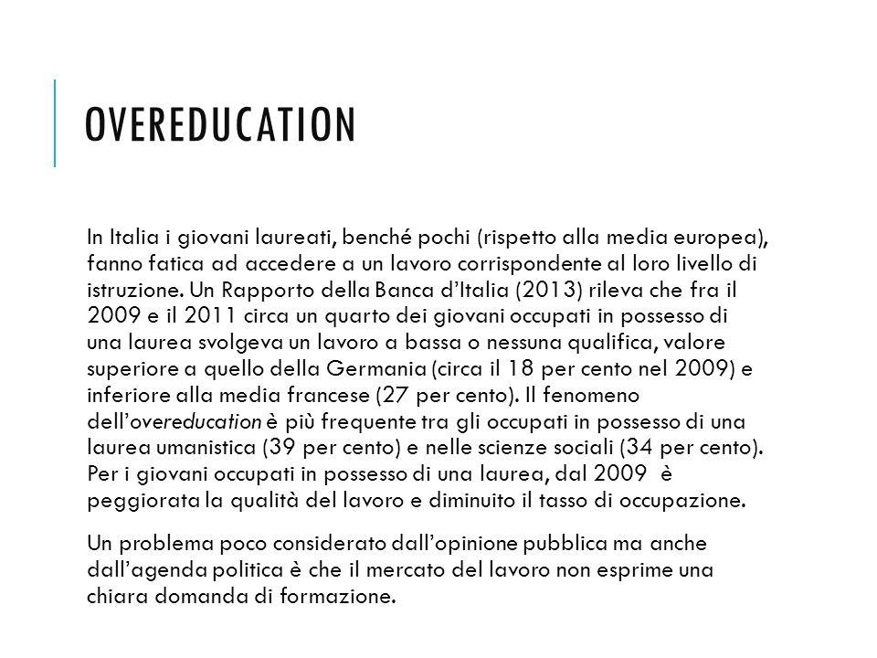 OVEREDUCATION In Italia i giovani laureati, benché pochi (rispetto alla media europea), fanno fatica ad accedere a un lavoro corrispondente al loro li