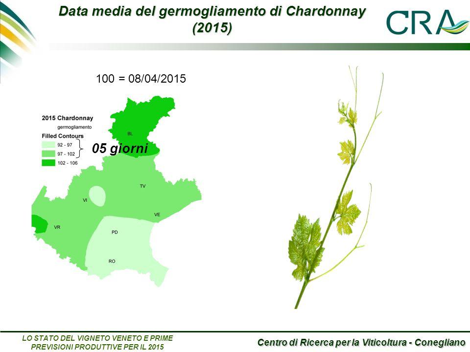 Centro di Ricerca per la Viticoltura - Conegliano LO STATO DEL VIGNETO VENETO E PRIME PREVISIONI PRODUTTIVE PER IL 2015 Data media del germogliamento di Chardonnay (2015) 05 giorni 100 = 08/04/2015