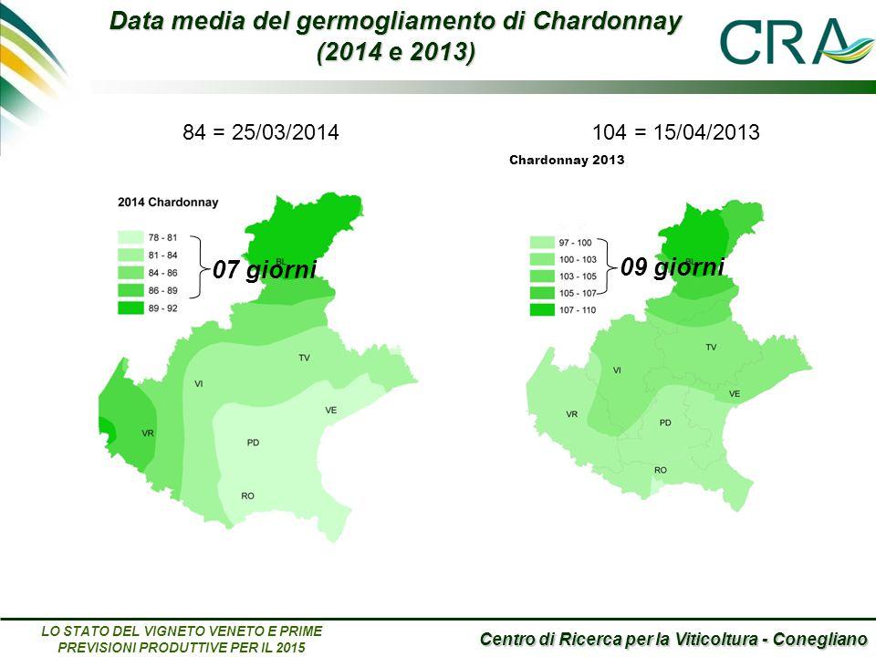 Centro di Ricerca per la Viticoltura - Conegliano LO STATO DEL VIGNETO VENETO E PRIME PREVISIONI PRODUTTIVE PER IL 2015 104 = 15/04/2013 Data media del germogliamento di Chardonnay (2014 e 2013) Chardonnay 2013 104 = 15/04/2013 09 giorni 07 giorni 84 = 25/03/2014