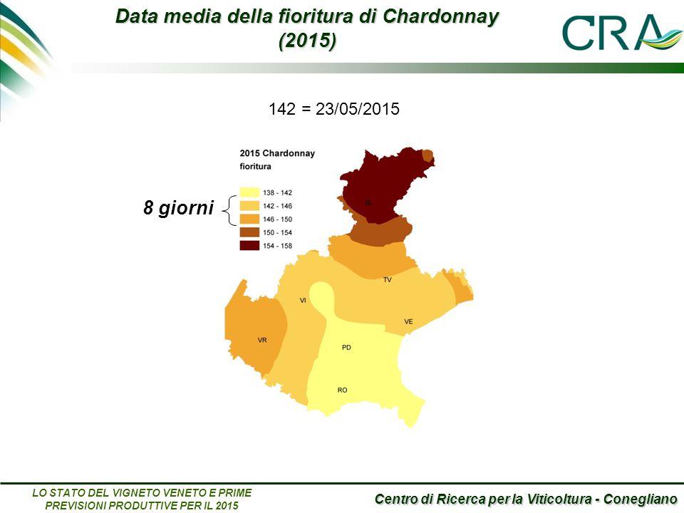Centro di Ricerca per la Viticoltura - Conegliano LO STATO DEL VIGNETO VENETO E PRIME PREVISIONI PRODUTTIVE PER IL 2015 Data media della fioritura di Chardonnay (2015) 8 giorni 142 = 23/05/2015