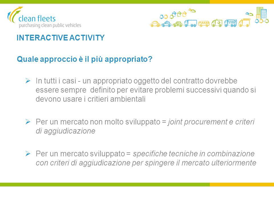 INTERACTIVE ACTIVITY Quale approccio è il più appropriato.