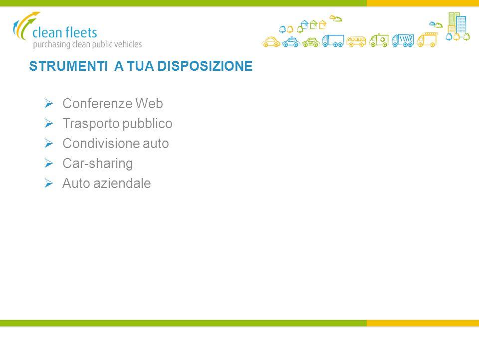 STRUMENTI A TUA DISPOSIZIONE  Conferenze Web  Trasporto pubblico  Condivisione auto  Car-sharing  Auto aziendale