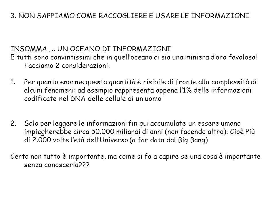 3. NON SAPPIAMO COME RACCOGLIERE E USARE LE INFORMAZIONI INSOMMA…..