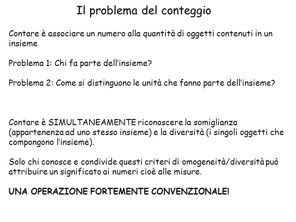 Il problema del conteggio Contare è associare un numero alla quantità di oggetti contenuti in un insieme Problema 1: Chi fa parte dell'insieme.
