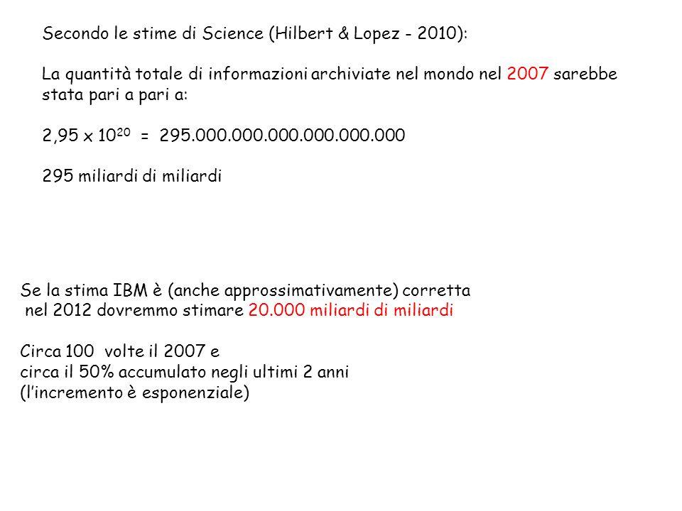 Se la stima IBM è (anche approssimativamente) corretta nel 2012 dovremmo stimare 20.000 miliardi di miliardi Circa 100 volte il 2007 e circa il 50% accumulato negli ultimi 2 anni (l'incremento è esponenziale) Secondo le stime di Science (Hilbert & Lopez - 2010): La quantità totale di informazioni archiviate nel mondo nel 2007 sarebbe stata pari a pari a: 2,95 x 10 20 = 295.000.000.000.000.000.000 295 miliardi di miliardi