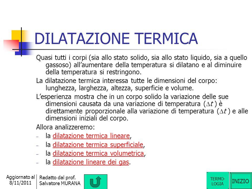 INIZIO Redatto dal prof. Salvatore MURANA Aggiornato al 8/11/2011 CAPACITA' TERMICA La capacità termica è una grandezza fisica derivata scalare ed è u
