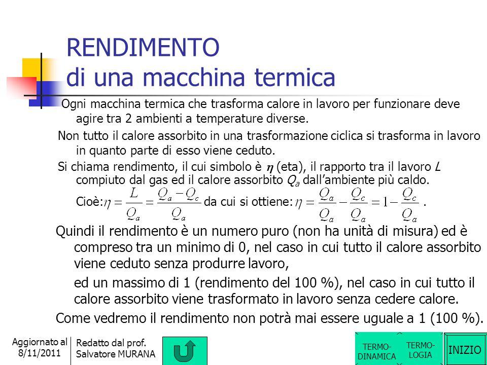INIZIO Redatto dal prof. Salvatore MURANA Aggiornato al 8/11/2011 MACCHINA TERMICA e MACCHINA FRIGORIFERA TERMO- LOGIA TERMO- DINAMICA Una macchina ch