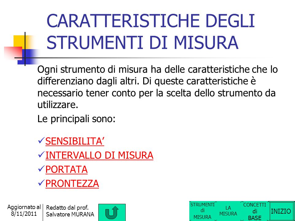 INIZIO Redatto dal prof. Salvatore MURANA Aggiornato al 8/11/2011 STRUMENTI DI MISURA DIGITALI (con indicazione numerica tramite un certo numero di ci