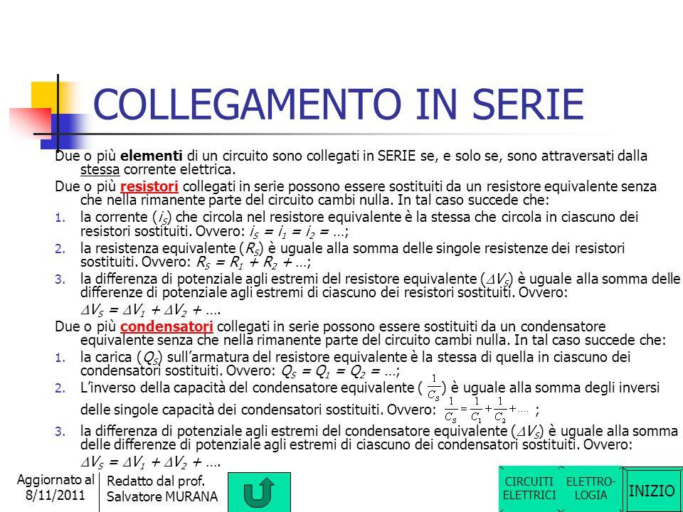 INIZIO Redatto dal prof. Salvatore MURANA Aggiornato al 8/11/2011 CAPACITA' del condensatore La grandezza fisica tipica di un condensatore è la sua ca
