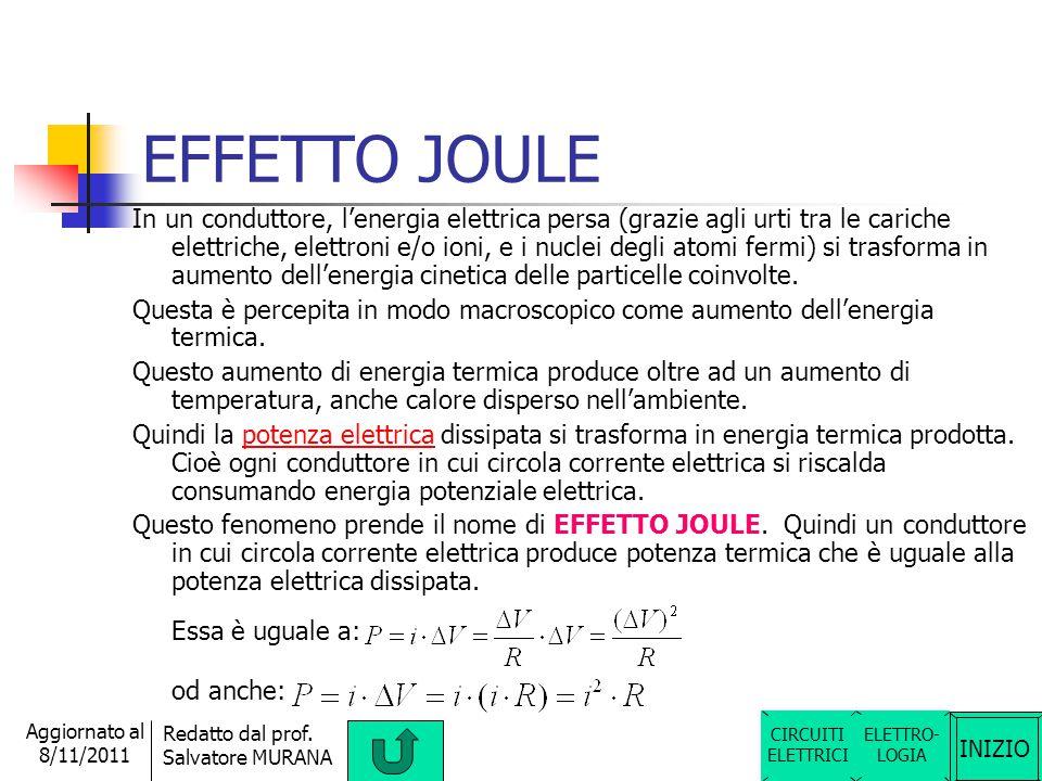 INIZIO Redatto dal prof. Salvatore MURANA Aggiornato al 8/11/2011 POTENZA ELETTRICA La potenza elettrica generata (P ) è la sveltezza con cui viene ge