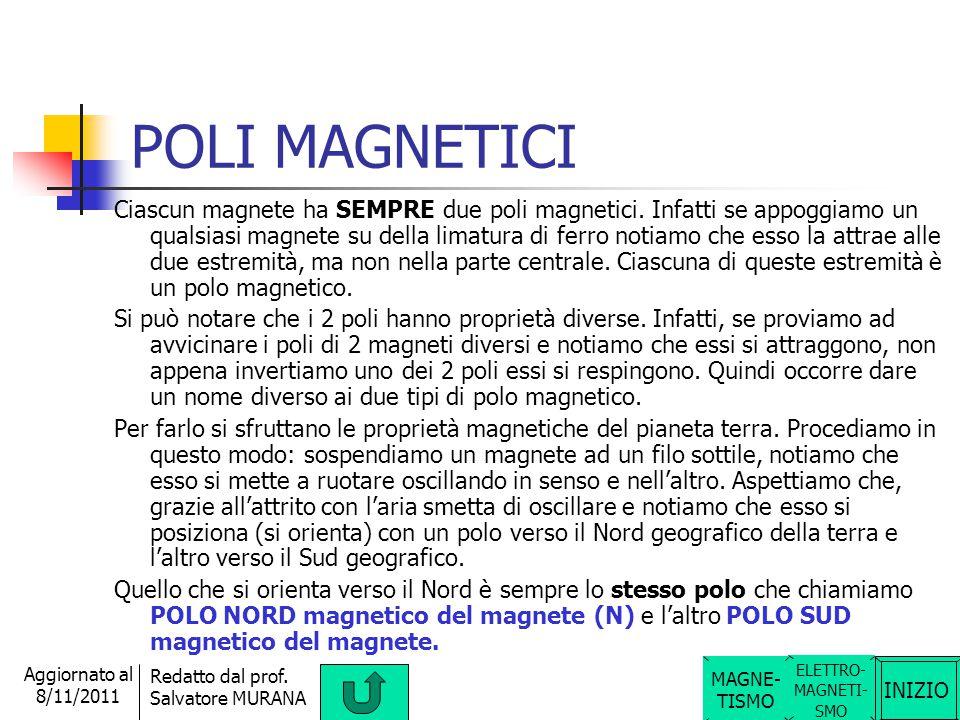 INIZIO Redatto dal prof. Salvatore MURANA Aggiornato al 8/11/2011 Argomenti del MAGNETISMO Nel magnetismo, quindi, si studia: Poli magnetici, Poli mag