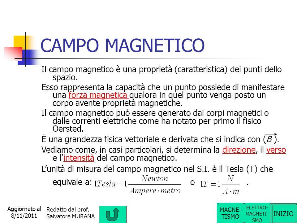 INIZIO Redatto dal prof. Salvatore MURANA Aggiornato al 8/11/2011 FORZE MAGNETICHE Si può notare che la forza tra due magneti è attrattiva tra poli ma