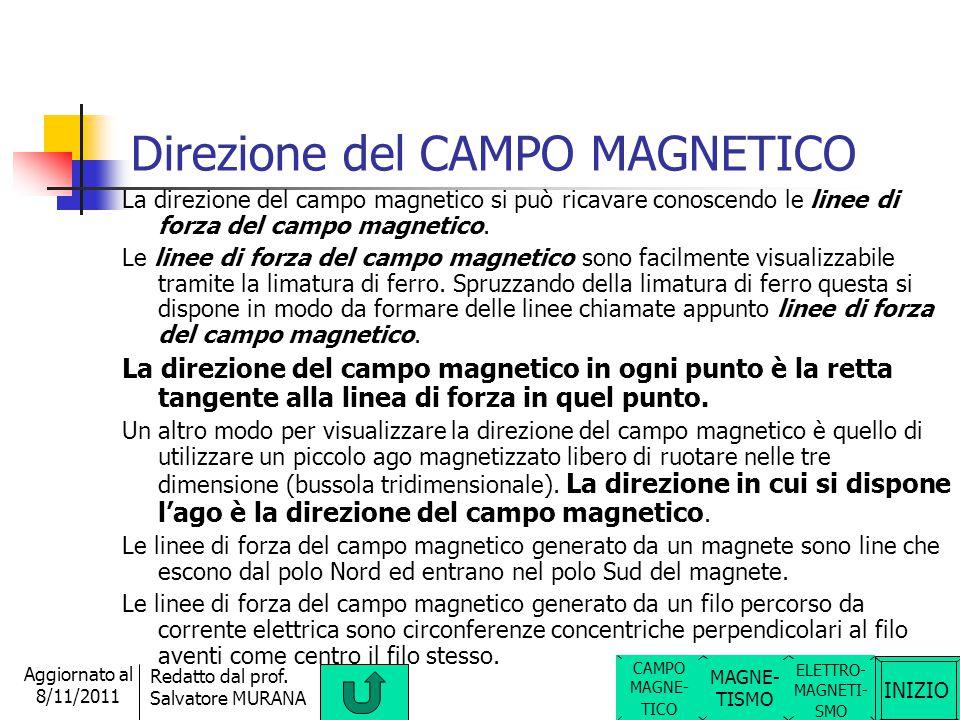 INIZIO Redatto dal prof. Salvatore MURANA Aggiornato al 8/11/2011 CAMPO MAGNETICO ELETTRO- MAGNETI- SMO Il campo magnetico è una proprietà (caratteris