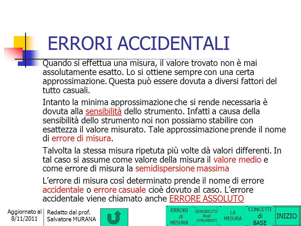 INIZIO Redatto dal prof. Salvatore MURANA Aggiornato al 8/11/2011 ERRORI DI MISURA Ci sono 2 tipi di errori di misura: ERRORI ACCIDENTALI (o casuali)E