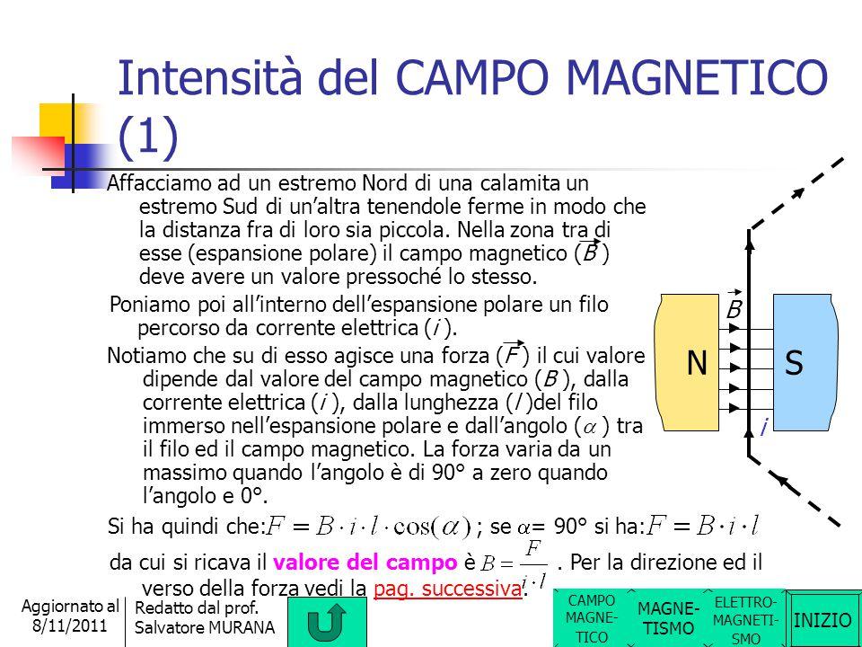 INIZIO Redatto dal prof. Salvatore MURANA Aggiornato al 8/11/2011 Verso del CAMPO MAGNETICO Definiamo verso del campo magnetico quello che va dal polo