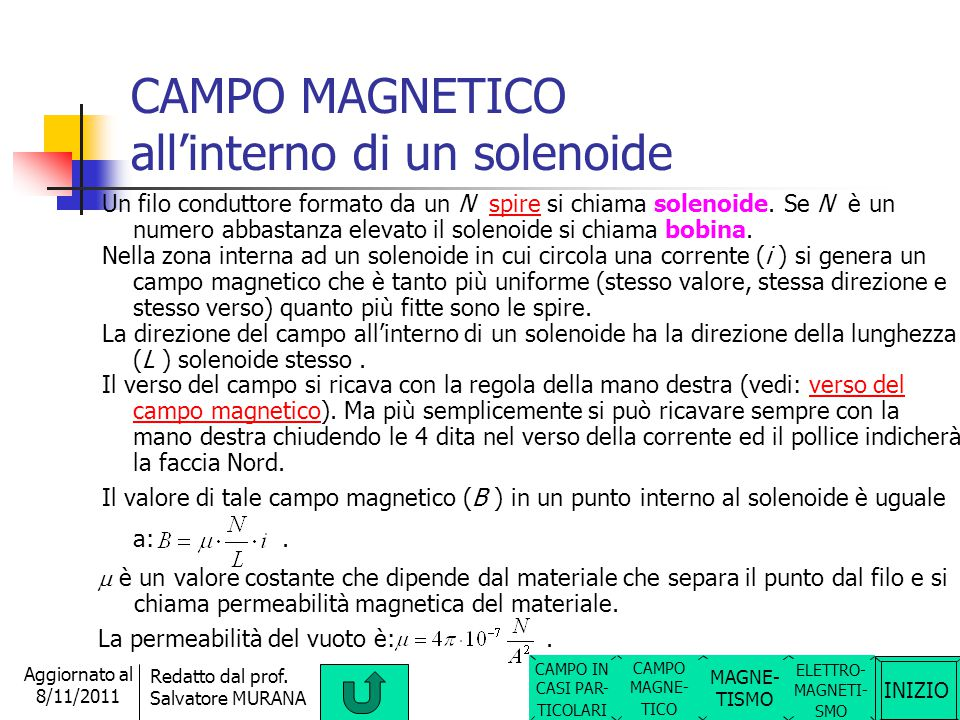 INIZIO Redatto dal prof. Salvatore MURANA Aggiornato al 8/11/2011 CAMPO MAGNETICO in una spira circolare Un filo conduttore che forma una circonferenz