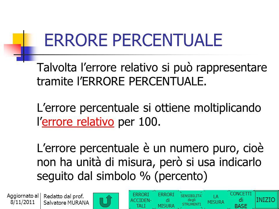 INIZIO Redatto dal prof. Salvatore MURANA Aggiornato al 8/11/2011 ERRORE RELATIVO L'errore relativo serve ad indicare la bontà di una misura. Tanto pi