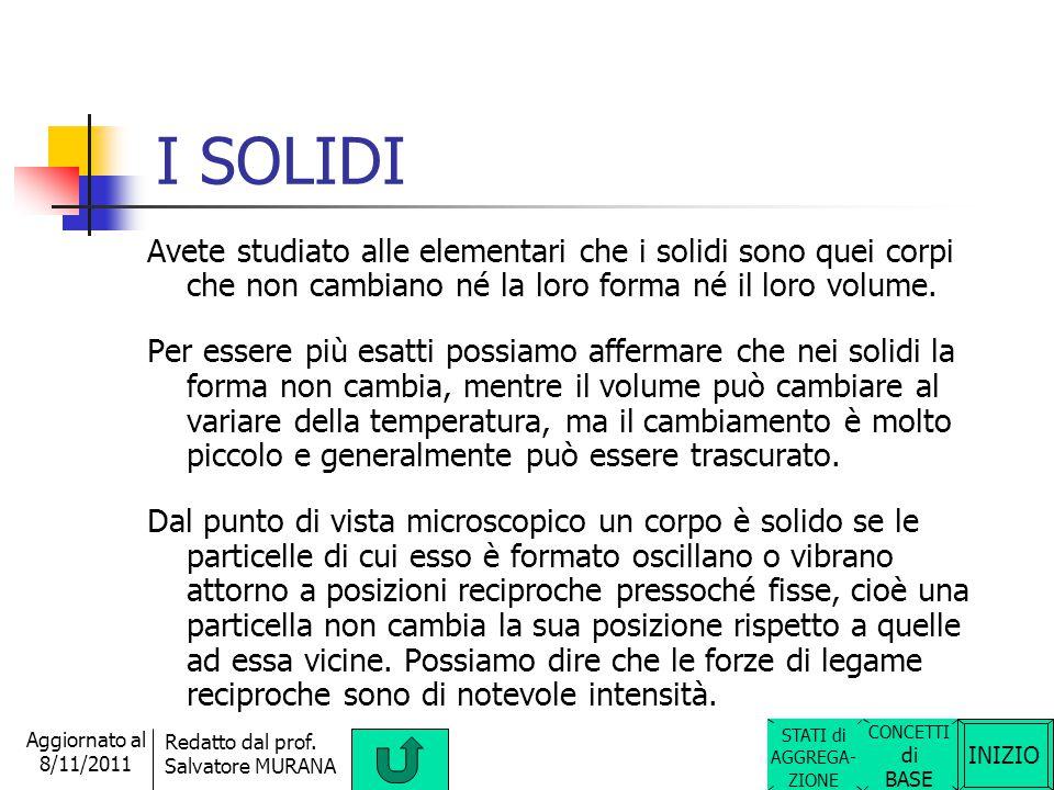 INIZIO Redatto dal prof. Salvatore MURANA Aggiornato al 8/11/2011 STATI DI AGGREGAZIONE della materia I corpi che noi osserviamo quotidianamente si tr