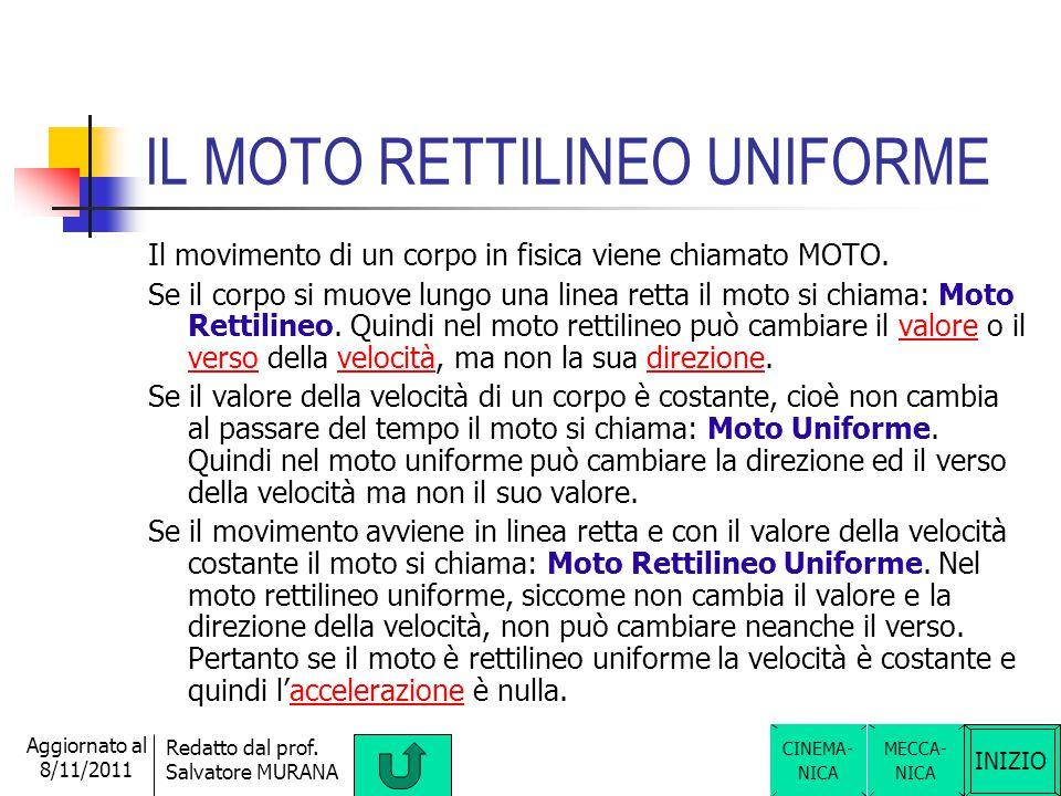 INIZIO Redatto dal prof. Salvatore MURANA Aggiornato al 8/11/2011 ACCELERAZIONE L'accelerazione è una grandezza fisica che indica la sveltezza con cui