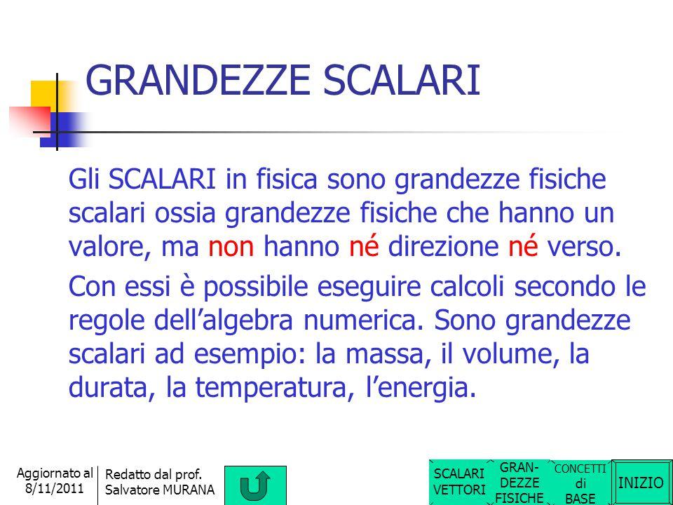 INIZIO Redatto dal prof. Salvatore MURANA Aggiornato al 8/11/2011 GRANDEZZE SCALARI E VETTORIALI Le grandezze fisiche possono essere suddivise in due